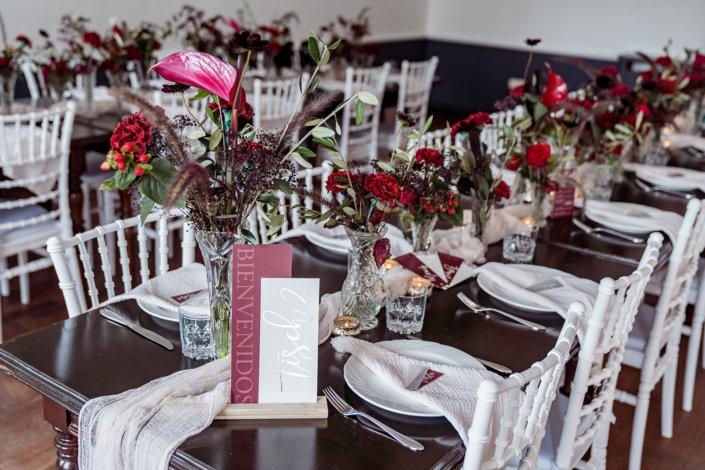 Flamenco Hochzeit Tischdekoration